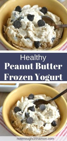No need to feel guilty about eating a big bowl of this Reese's Peanut Butter Cup Healthy Frozen Yogurt! You don't even need an ice cream maker to make this light frozen ice cream dessert! The secret ingredient for ultimate creaminess? Healthy Deserts, Healthy Sweets, Healthy Dessert Recipes, Gourmet Recipes, Easy Desserts, Cup Desserts, Summer Desserts, Healthy Food, Peanut Butter Dessert Recipes