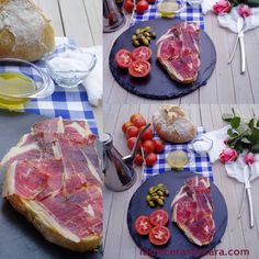 Pa amb Oli (bread with olive oil with tomatoes and cured ham or/and cheese). Must est while you are in #Mallorca