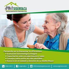 """SEGERO&CA-Servicios Gerontológicos & Consultorio en casa  Servicios gerontológicos de calidad profesional para mejorar la calidad de vida de las personas mayores,en procura de su bienestar integral. Se brinda capacitación y orientación en el cuidado de su adulto mayor"""" """"Si requiere conocer más sobre el proceso de envejecimiento y estilos de vida saludable, llame …"""