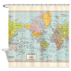 World Map Shower Curtain  Historical  colorful vintage by Mapology