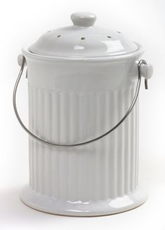 Norpro 1 Gallon Ceramic Compost Keeper White Bins