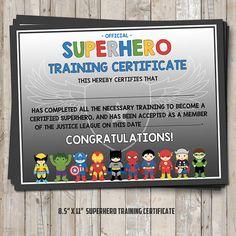 Superhero training certificate – 2 versions blue AND gray – digital / printable DIY - Birthday Party 3 Avengers Birthday, Superhero Birthday Party, Birthday Party Games, 6th Birthday Parties, Boy Birthday, Superhero Party Games, Birthday Activities, Birthday Ideas, Superhero Birthday Invitations