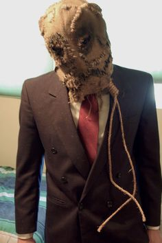 Suit is what I'm thinking, but NOT this type of mask. We will have custom graffiti all over it because he's the SteezCrow. He will be pole posted to start performance! Batman Scarecrow Costume, Scarecrow Cosplay, Scarecrow Batman, Scarecrow Mask, Batman Halloween, Halloween Scarecrow, Halloween Town, Halloween Costumes, Halloween Party Themes