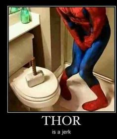 ~Thor ~Spiderman ~Funny When you have to go to the bathroom but your friend decides to be a good Samaritan...