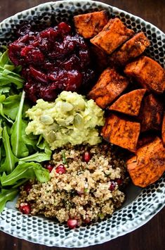 Made with pomegranate quinoa, spiced cranberry sauce, mashed avocado, and sweet potatoes roasted in paprika and cinnamon, it's basically Thanksgiving dinner in a single bowl. Get the recipe.