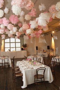 white and pink pom poms wedding decor / http://www.himisspuff.com/pom-poms-decor-ideas-for-your-wedding/7/