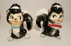 Vintage Kitschy Skunk Salt & Pepper Shakers by catladycollectibles