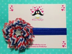 Red white and blue chevron print flower with by AnisasBowtique, $9.00