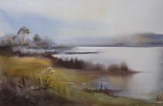 Ilya Ibryaev  - Lake - Autumn - watercolour (53х35) cm