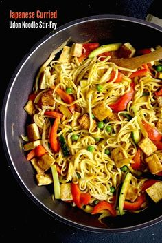 Japanese Curried Udon Noodle Stir-Fry recipe by SeasonWithSpice.com