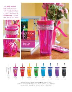 This glitzy double wall acrylic tumbler with threaded lid, has a matching straw and rhinestones.  It brings new flare to your spirit. #drinkware
