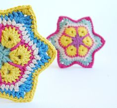African flower stars by dada's place - with link to free youtube tutorial by eliZZZa13
