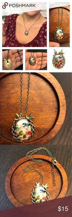 Flirty Girly Bird FloralNecklaceAntique Fun Flirty Girly Birdie Necklace Floral! Pink Hibiscus  Flowers! Little Blue Bird! So Sweet! Adorable! Cute Fashion Jewelry! Ask Me Any Questions! Vintage Antiqued Gold Bronze Look! Love! New! New With Tags! New In Package! : ) gratefulmaker Jewelry Necklaces