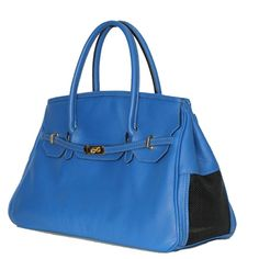 All Pebbled Leather Cobalt Blue Dog Bag for Your Chic Pooch Made in America