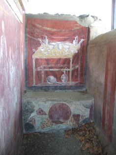 May Inner side of north wall of tom Ancient Pompeii, Pompeii And Herculaneum, Dark Red Background, Roman Era, Roman Mythology, Frozen In Time, Garden Painting, Photos, History