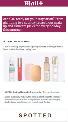 If you are planning a city break this summer then be sure to stock up on pollution-fighting skincare!🌨 MZ Skin Anti-Pollution Hydrating Mist was featured in @mailplus as a skincare essential. ❤️ We Make Up, Beauty Kit, Rooftop Bar, City Break, Vitamins And Minerals, Staycation, Glamping, Mists, Skincare