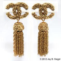 CHANEL CC Logo Gold Tassel Earrings