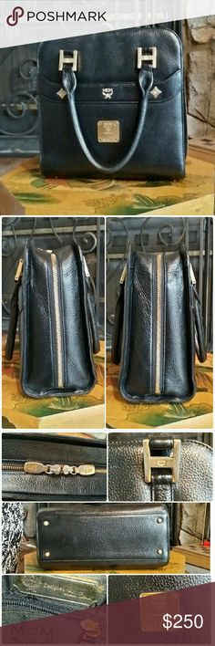 "SALE!!! Auth. MCM Black Leather Handbag Authentic MCM Black Leather Handbag Approximately 8.6"" wide, 8.6"" high, 4"" deep Clean inside and out. Tarnish hardware but over all very good condition. No rips/tears.  No Trade. No Paypal. MCM Bags Totes"