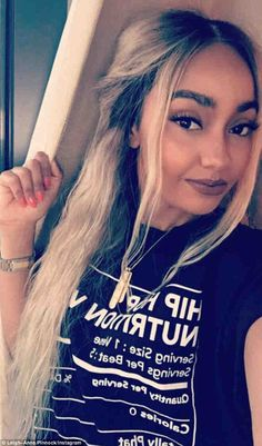 New look: Little Mix singer Leigh-Anne Pinnock shows off her new blonde hair in a selfie taken on holiday in Las Vegas on Tuesday night