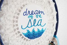 Dream of the Sea Vintage Doily Embroidered by ErinLynnDesigns