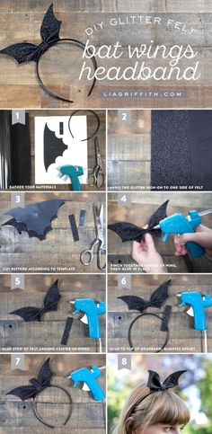 DIY Glitter Bat Headband Tutorial from MichaelsMakers Lia Griffith
