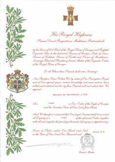 Título de Caballero de la Orden del Águila de Georgia.