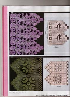 "Photo from album ""ФИЛЕЙНОЕ ВЯЗАНИЕ. Filet Crochet, Crochet Lace, Crochet Hooks, Crochet Edging Patterns, Crochet Borders, Crochet Diagram, Knit Edge, Crochet Curtains, Lace Border"