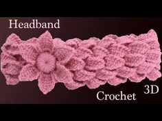 Diadema a crochet con trenzas de hojas y flor 3D en punto tunecino tejido tallermanualperu - YouTube