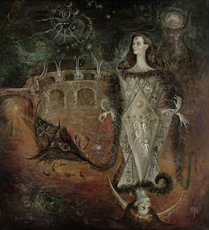 La Reina del Tarot, by the great Leonora Carrington, whose recent loss I'm feeling