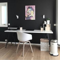 Workspace Inspo and Image Regram thanks to @sk.interior based in Norway . Monochrome Monday with a Marilyn too....we love this awesome workspace belonging to @sk.interior. We love a dark wall it makes everything pop and how fab is that artwork...so cool! by theworkspacestylist