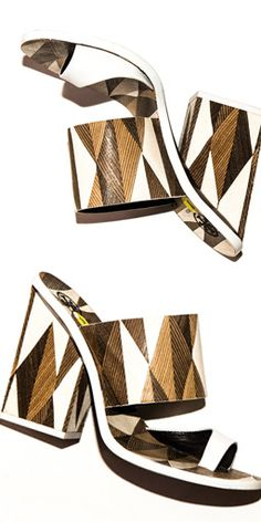 Artisanal heels: stacks of leather are sliced vertically to form the shoe's graphic pattern #toryburch #toryburchspring15  #nyfw