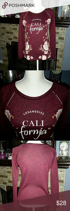 PAPAYA BRAND,  WINE COLORED LOS ANGELES SWEATER. NWOT Papaya brand, Los Angeles California, rose printed on a gorgeous wine colored sweater.  Brand new and never worn.  Size Medium Papaya Sweaters