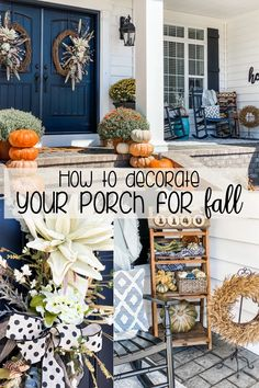 Fall Porch Decorating Ideas! | Believe it or not… this is the VERY first time I have decorated a porch for Fall- so this post is VERY exciting for me!!! In all the houses I have ever lived in, I never decorated ONE for Fall. I know… what's wrong with me?!?! #FallPorch #PorchDecor #FallDecor Decorating On A Budget, Porch Decorating, Holiday Decorating, Diy Halloween Decorations, Fall Decorations, Types Of Pumpkins, Fall Diy, Seasonal Decor, Home Crafts