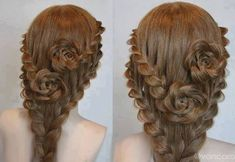 Here's a beautiful hairstyle idea for those of you with long hair. A pair of lace braid roses! If you want to learn, it has a youtube tutorial video below too.