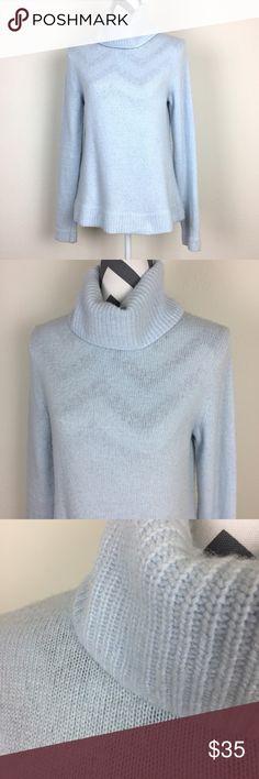 J. Crew Baby Blue Wool Turtleneck Sweater Size M Pretty baby blue wool blend turtleneck sweater by J. Crew. Size M. J. Crew Factory Sweaters Cowl & Turtlenecks