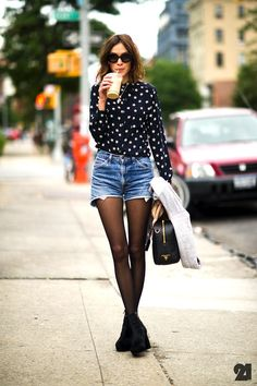 Alexa Chung // wavy bob, oversized round sunglasses, star print shirt, cut-off denim shorts, tights & ankle boots #style #fashion #uk #celebrity | @andwhatelse
