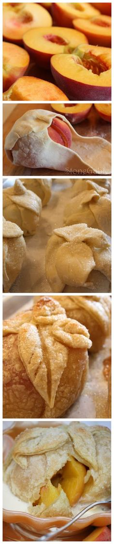 Ingredients:  8 large very ripe peaches  4 TBS butter  1/2 cup brown sugar  1/2 cup white sugar  2 boxes puffed pastry sheets  1/4 cup hea...