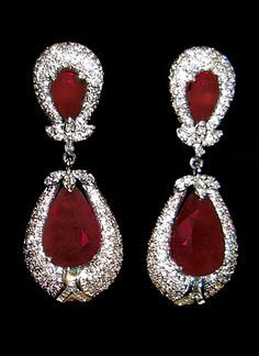 Earrings ruby and pave diamond ♥