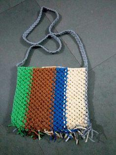 Multicolored macrame purse