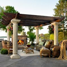 Build Your Own Pergola Kits. A Pergola kit from Pacific Living, Inc. Style of a pergola kit, Gazebo Pergola, Wood Pergola, Pergola Ideas, Curved Pergola, Modern Pergola, Outdoor Rooms, Outdoor Gardens, Outdoor Living, Outdoor Patios