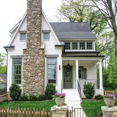 White house with Stone chimney in front. Southern Cottage Homes, Cottage Style Homes, Cottage House Exteriors, Cottage Home Plans, Small Cottage Homes, Bungalow Homes, Cozy Cottage, House Plans, Cute House