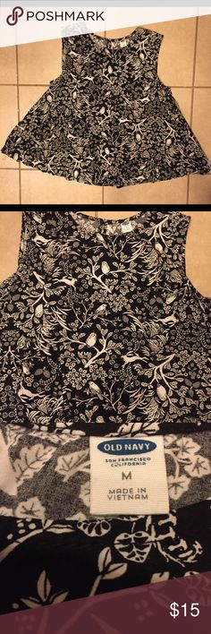Girls Old Navy nature pattern sleeveless blouse Black and white 100% rayon blouse with black background and white trees, leaves, birds and rabbits. Old Navy Shirts & Tops Blouses