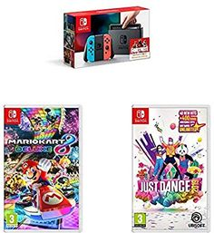 Nintendo Switch + Mario Kart Deluxe 8 + Just Dance 2019 Mario Kart, Just Dance, Nintendo Switch, Video Games, Amazon, Christmas, Xmas, Videogames, Amazons