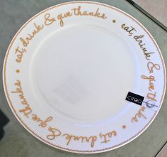 "CIROA ""EAT, DRINK & GIVE THANKS"" SALAD PLATE 10503915 GOLD WHITE NEW #CIROA"