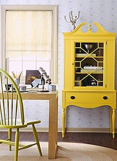 I love painting vintage furniture bright colors! Yellow Painted Furniture, Distressed Furniture, Vintage Furniture, Furniture Logo, Furniture Stores, Office Furniture, Furniture Cleaning, Furniture Market, Cheap Furniture