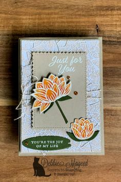 Kraft All Occasion Lovely Lily Pad Card for Cardz 4 Galz - amy Diy And Crafts, Paper Crafts, Stampin Pretty, Clay Stamps, Birthday Crafts, Pretty Cards, Stamping Up, Flower Cards, Stampin Up Cards