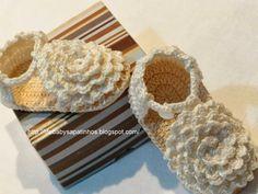 Sapatinhos Para Bebê - Life Baby: Passo a passo Sapatinho de Crochê Menina Flor