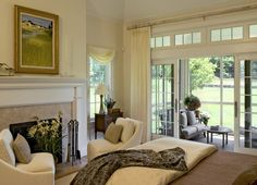 Bedroom with fireplace and private porch