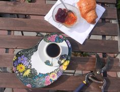Espresso breakfast set with summer flowers & tit.