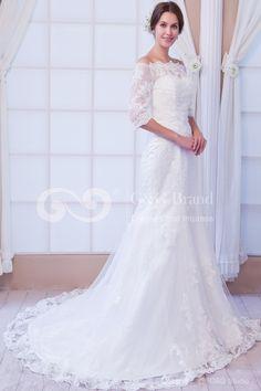 vestidos de novia Cremallera Romántico Tra Marfil Chapel Tul Mermaid Hombro caído Hasta Sinuelo Encaje Cuentas Sinequs Natural Sin Mangas ,€215